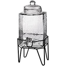 glass beverage jar with stand